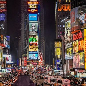Neon lights in a city are filled with Argon, a colorless ordorless gas.